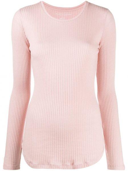 Кашемировый приталенный розовый пуловер круглый Majestic Filatures
