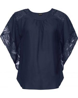 Синяя кружевная блузка с коротким рукавом летучая мышь с круглым вырезом Bonprix
