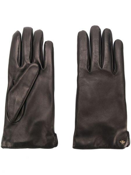 Skórzany rękawiczki prążkowany czarny Gucci