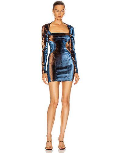 Синее платье мини с длинными рукавами с разрезом Mugler