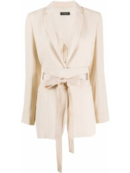 Удлиненный пиджак с поясом с лацканами из вискозы Antonelli