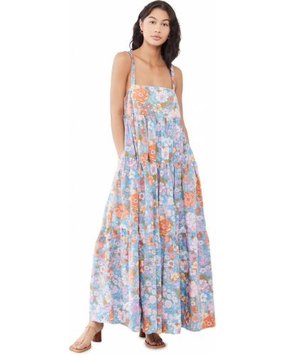 Хлопковое платье макси свободного кроя в цветочный принт Free People