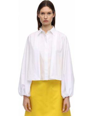 Хлопковая белая классическая рубашка с манжетами с воротником Sara Battaglia
