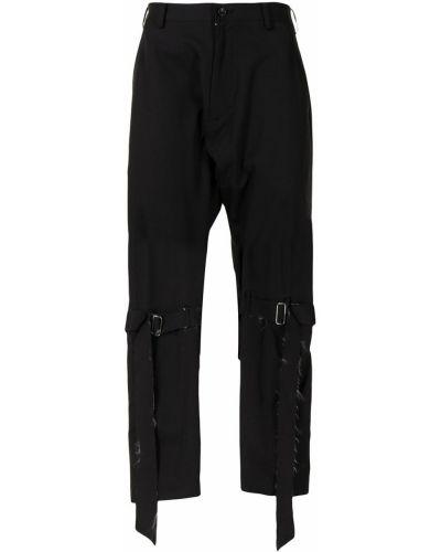 Czarne spodnie wełniane klamry Sulvam