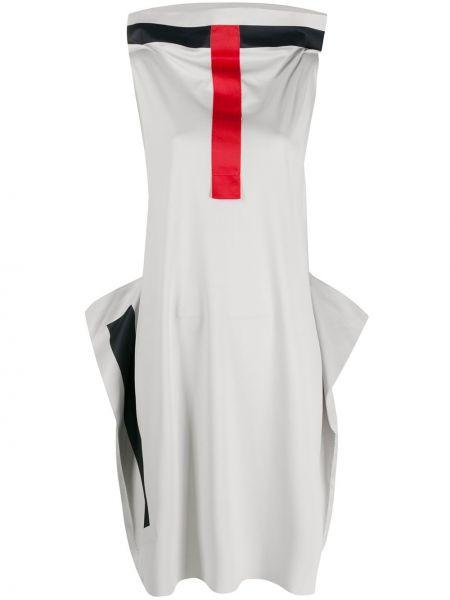 Серое платье с воротником без рукавов свободного кроя Issey Miyake