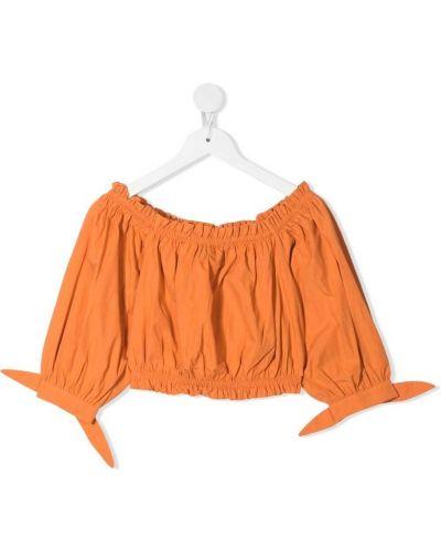 Оранжевая хлопковая блузка с оборками Twin-set