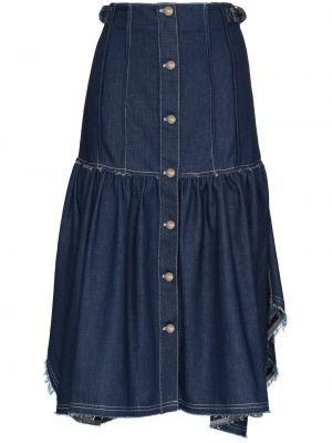 Синяя джинсовая юбка на пуговицах с бахромой Chloé
