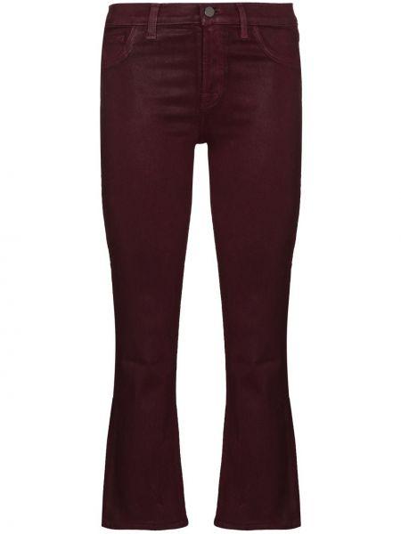 Брендовые расклешенные красные укороченные джинсы J Brand