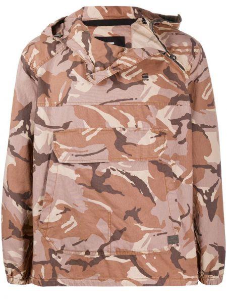 Коричневый классический пуловер с вышивкой с капюшоном G-star Raw