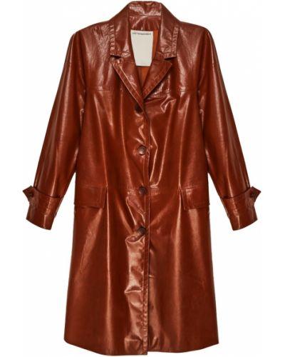 Кожаное пальто прямое однобортное Color Temperature