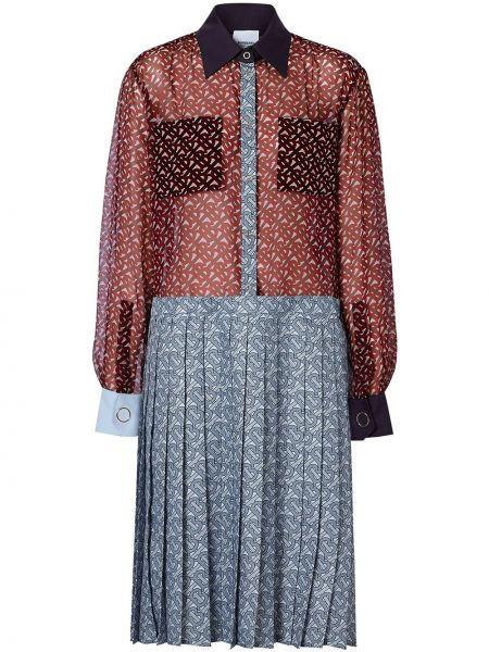 Красное плиссированное шелковое платье Burberry