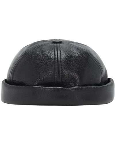 Czarny kapelusz skórzany Junya Watanabe
