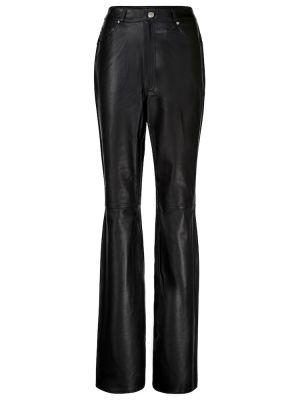 Кожаные прямые черные брюки Grlfrnd