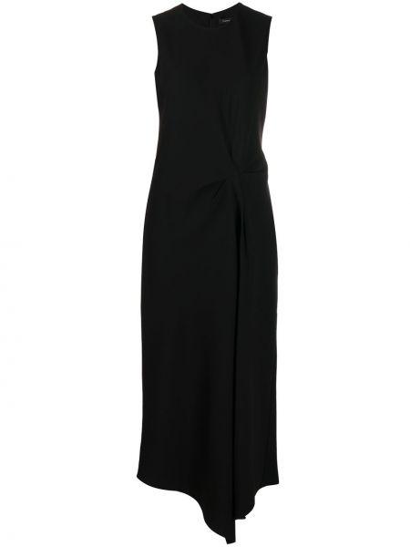 Черное асимметричное платье без рукавов круглое Theory