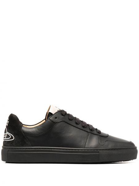 Czarny ażurowy sneakersy z prawdziwej skóry na sznurowadłach Vivienne Westwood