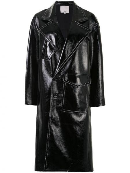 С рукавами черное пальто на пуговицах с лацканами Tibi