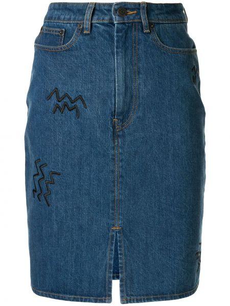 Niebieska spódnica jeansowa z wysokim stanem bawełniana Etre Cecile