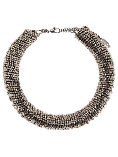 Choker srebrny - czarny Brunello Cucinelli