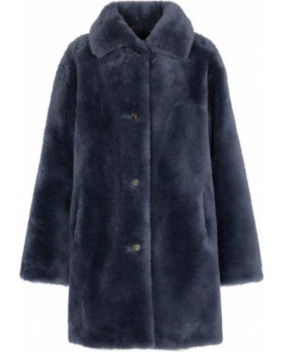 Синее плюшевое пальто Yves Salomon