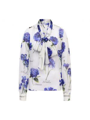 Синяя шелковая блузка Dolce & Gabbana