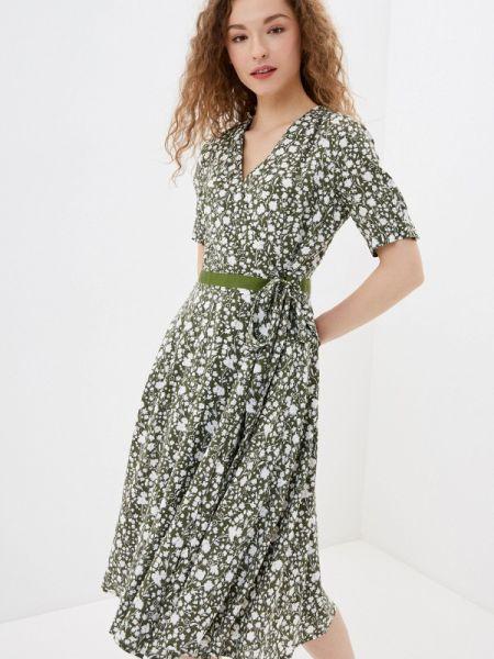 Платье с запахом зеленый Lusio