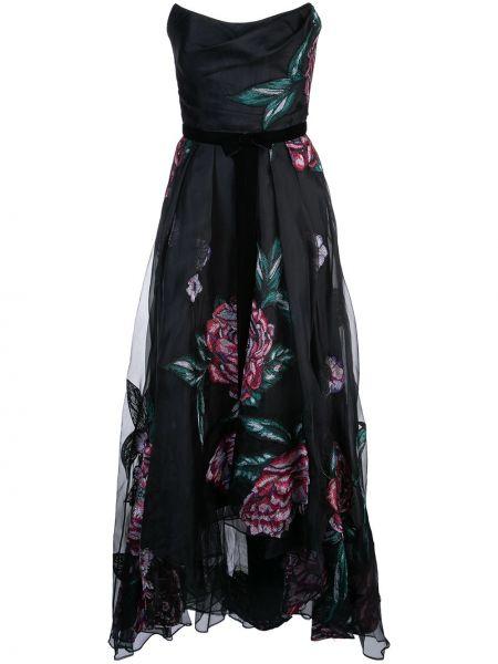 Платье с цветочным принтом со складками Marchesa Notte