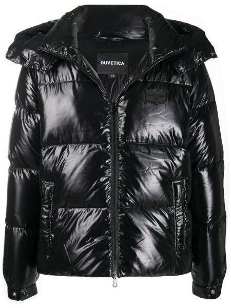 Классическая черная куртка с капюшоном с карманами с перьями Duvetica