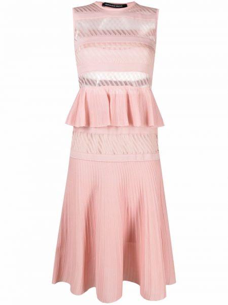 Różowa sukienka midi rozkloszowana z wiskozy Antonino Valenti