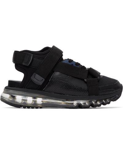 Czarne sandały skorzane sznurowane Miharayasuhiro