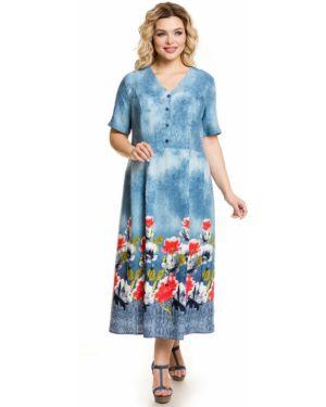 Летнее платье на пуговицах из штапеля с V-образным вырезом свободного кроя Novita