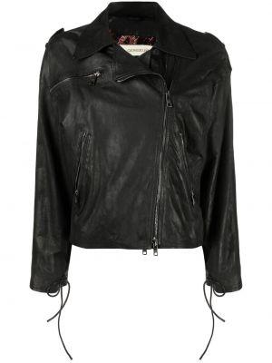 Черная кожаная куртка на молнии Giorgio Brato