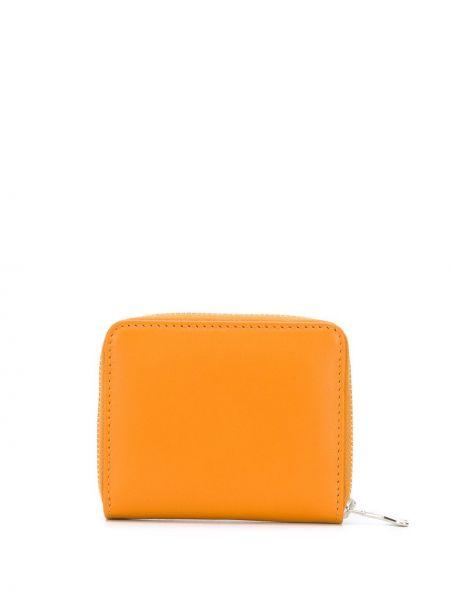 Желтый кожаный кошелек на молнии Ami