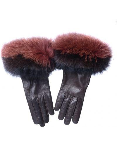Кожаные перчатки с мехом Georges Morand