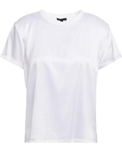 Prążkowany biały t-shirt z jedwabiu Atm Anthony Thomas Melillo