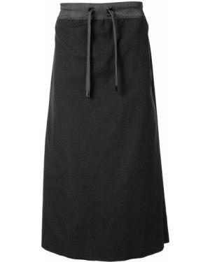 Prosto wełniany spódnica midi z kieszeniami Fumito Ganryu