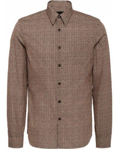 Рубашка с длинным рукавом с принтом из поплина Prada