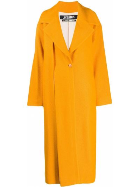Pomarańczowy płaszcz wełniany z długimi rękawami Jacquemus