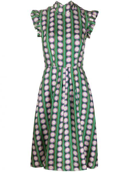 Sukienka mini z kołnierzem zielona La Doublej