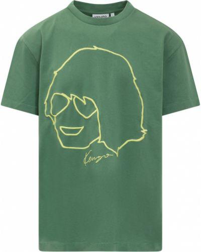 T-shirt z printem - zielona Kenzo