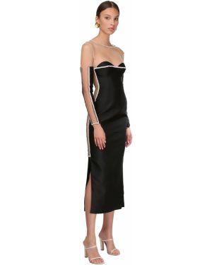 Czarna sukienka midi tiulowa z długimi rękawami Sandra Mansour