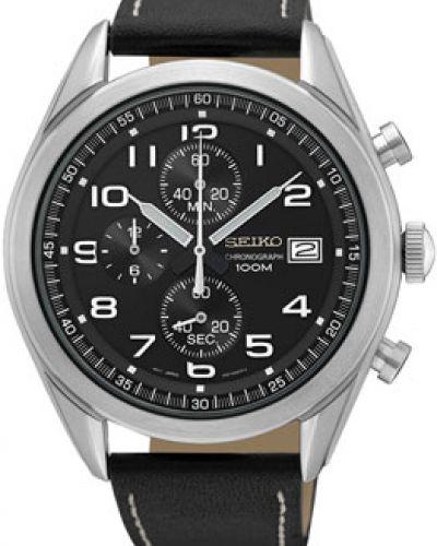 Часы с кожаным ремешком кварцевые спортивные Seiko