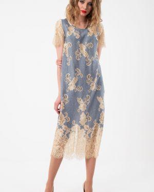 Вечернее платье короткое - голубое Wisell
