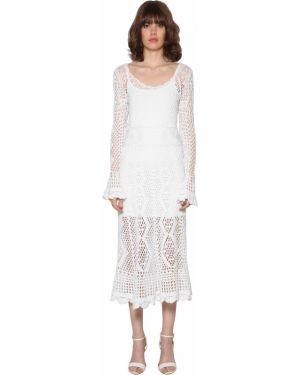 Платье миди с длинными рукавами - белое Polo Ralph Lauren