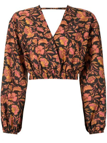 Хлопковая черная блузка с V-образным вырезом с запахом Matteau