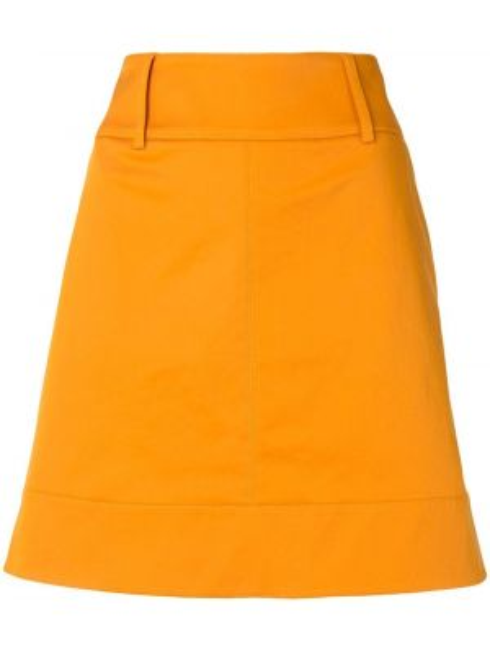Плиссированная желтая с завышенной талией юбка мини из габардина Paule Ka