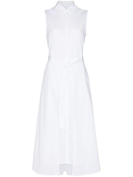 Расклешенное белое платье миди без рукавов Rosetta Getty