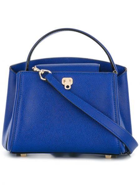 Кожаная синяя сумка-тоут Valextra