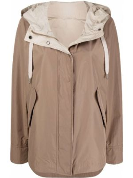Хлопковая коричневая длинная куртка с капюшоном Brunello Cucinelli