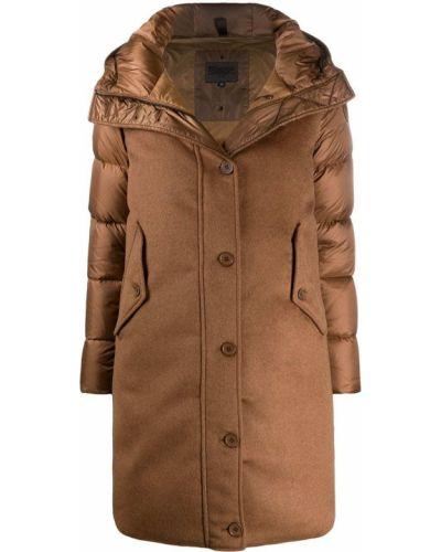 Коричневое пуховое пальто классическое с капюшоном Blauer