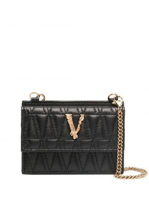 Черная кожаная визитница на кнопках Versace